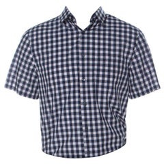Prada Multicolor Check Cotton Short Sleeve Bowling Shirt L