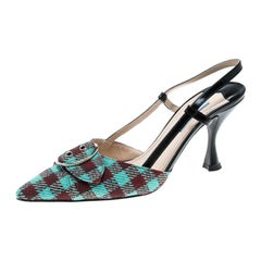 Prada Multicolor Check Pattern Fabric and Leather Slingback Sandals Size 37.5