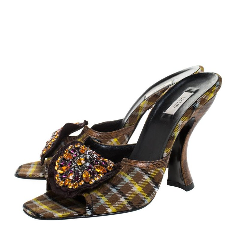 Prada Multicolor Crystal Embellished Check Fabric Slide Sandals Size 37.5 In Excellent Condition For Sale In Dubai, Al Qouz 2