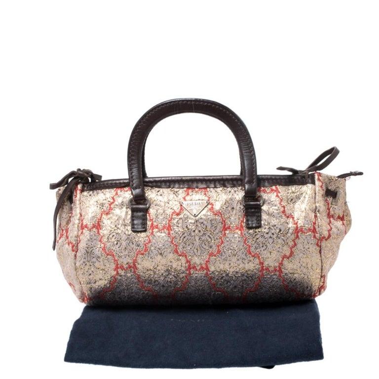 Prada Multicolor Fabric and Leather Brocade Satchel For Sale 7