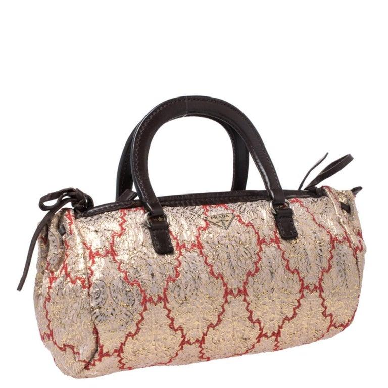 Women's Prada Multicolor Fabric and Leather Brocade Satchel For Sale