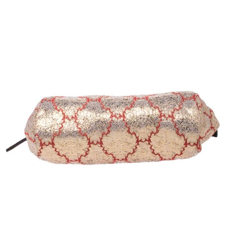 Prada Multicolor Fabric and Leather Brocade Satchel For Sale 1