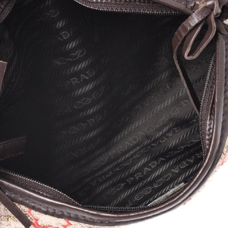 Prada Multicolor Fabric and Leather Brocade Satchel For Sale 3