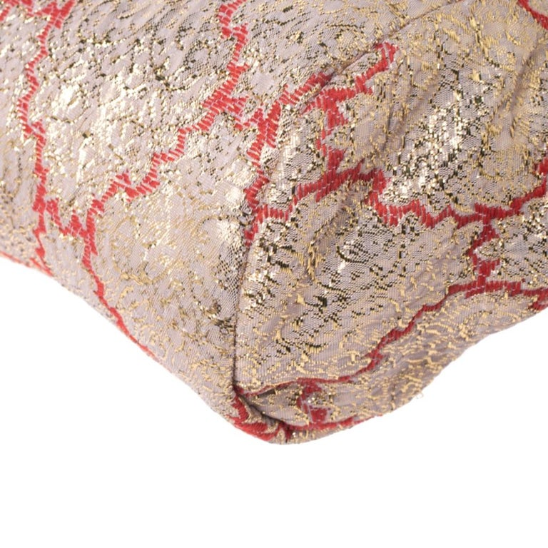 Prada Multicolor Fabric and Leather Brocade Satchel For Sale 5