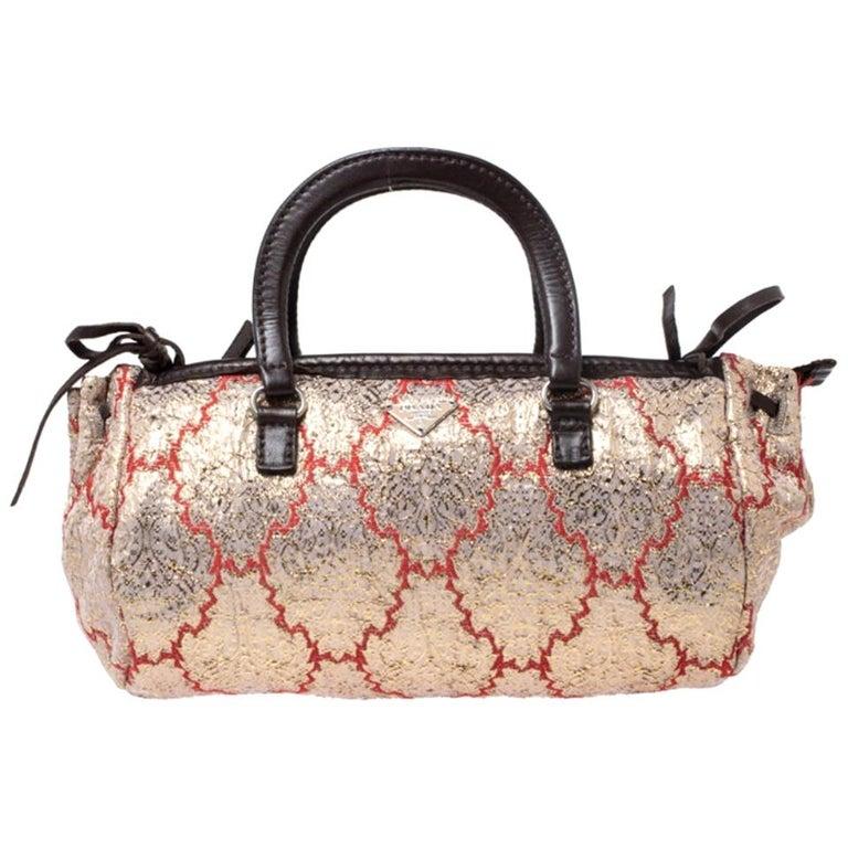Prada Multicolor Fabric and Leather Brocade Satchel For Sale