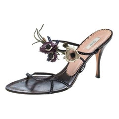 Prada Multicolor Fabric and Leather Flower Embellished Sandals Size 39