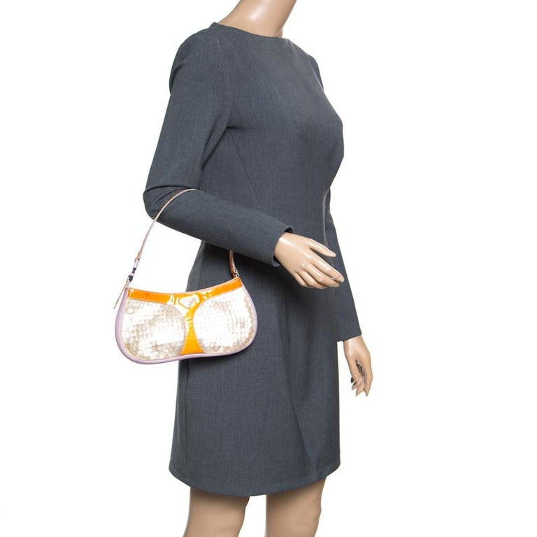 Beige Prada Multicolor Mesh/Sequins and Leather Shoulder Bag For Sale