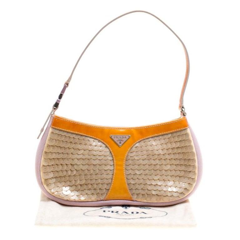 Prada Multicolor Mesh/Sequins and Leather Shoulder Bag For Sale 3