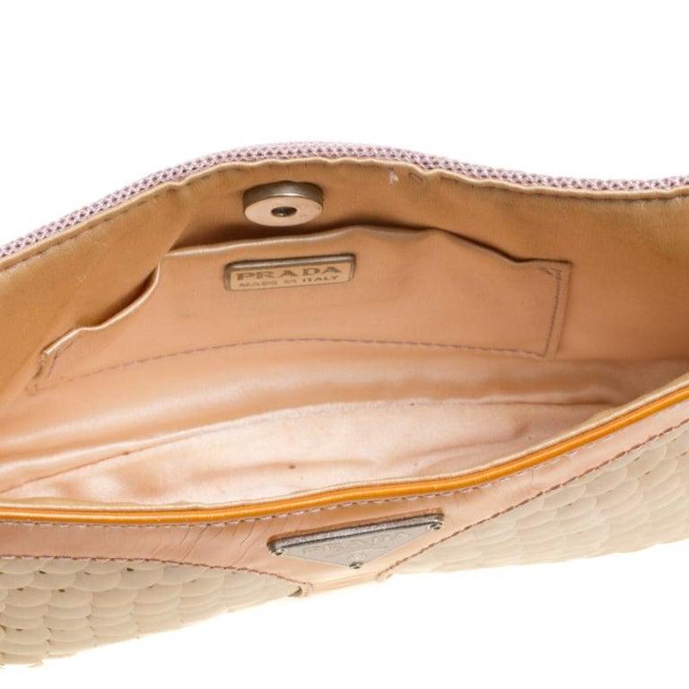 Prada Multicolor Mesh/Sequins and Leather Shoulder Bag For Sale 4