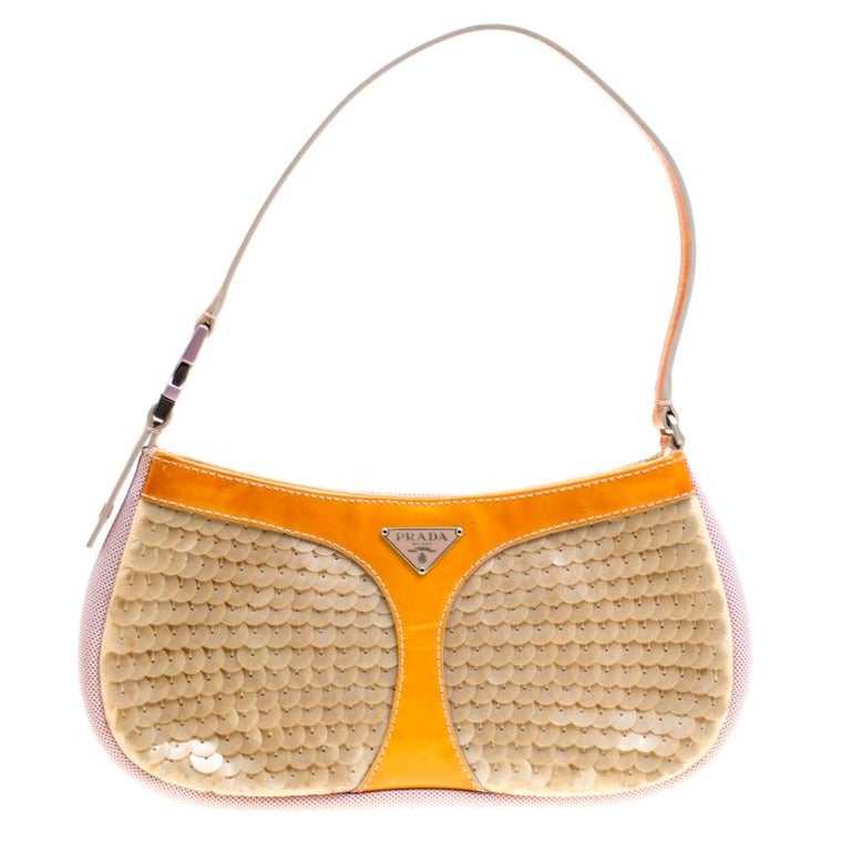d9fa691486db Prada Multicolor Mesh/Sequins and Leather Shoulder Bag For Sale at ...
