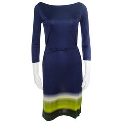 Prada Multicolor Silk Jersey Long Sleeve Belted Dress S