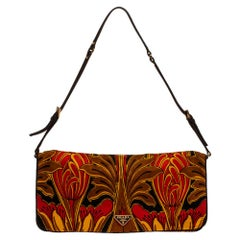 Prada Multicolor Tulip Print Silk and Leather Pochette Bag