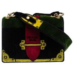 Prada Multicolor Velvet Trompe L'oeil Cahier Shoulder Bag