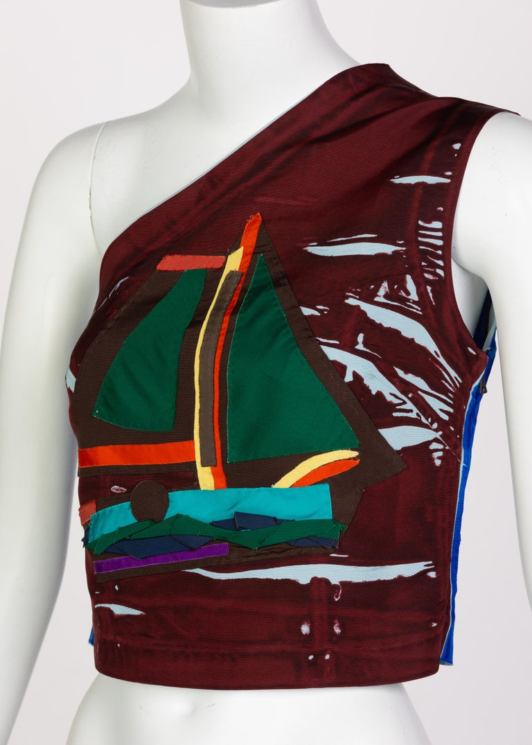 Prada Multicolored Silk Sailboat One Shoulder Top Runway, 2005 In Excellent Condition For Sale In Boca Raton, FL