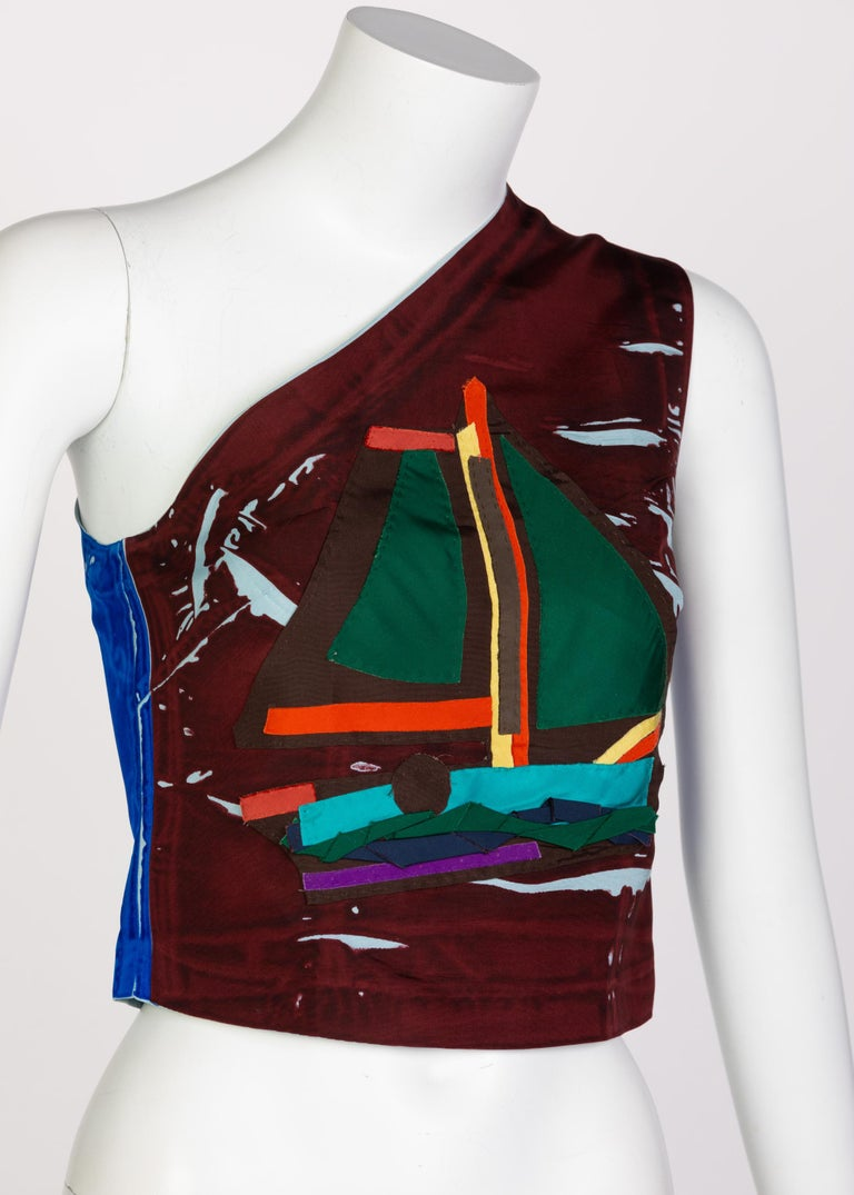 Women's or Men's Prada Multicolored Silk Sailboat One Shoulder Top Runway, 2005 For Sale
