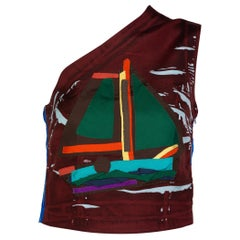 Prada Multicolored Silk Sailboat One Shoulder Top Runway, 2005