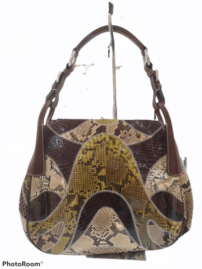 Prada multicoloured python leather shoulder bag For Sale 7