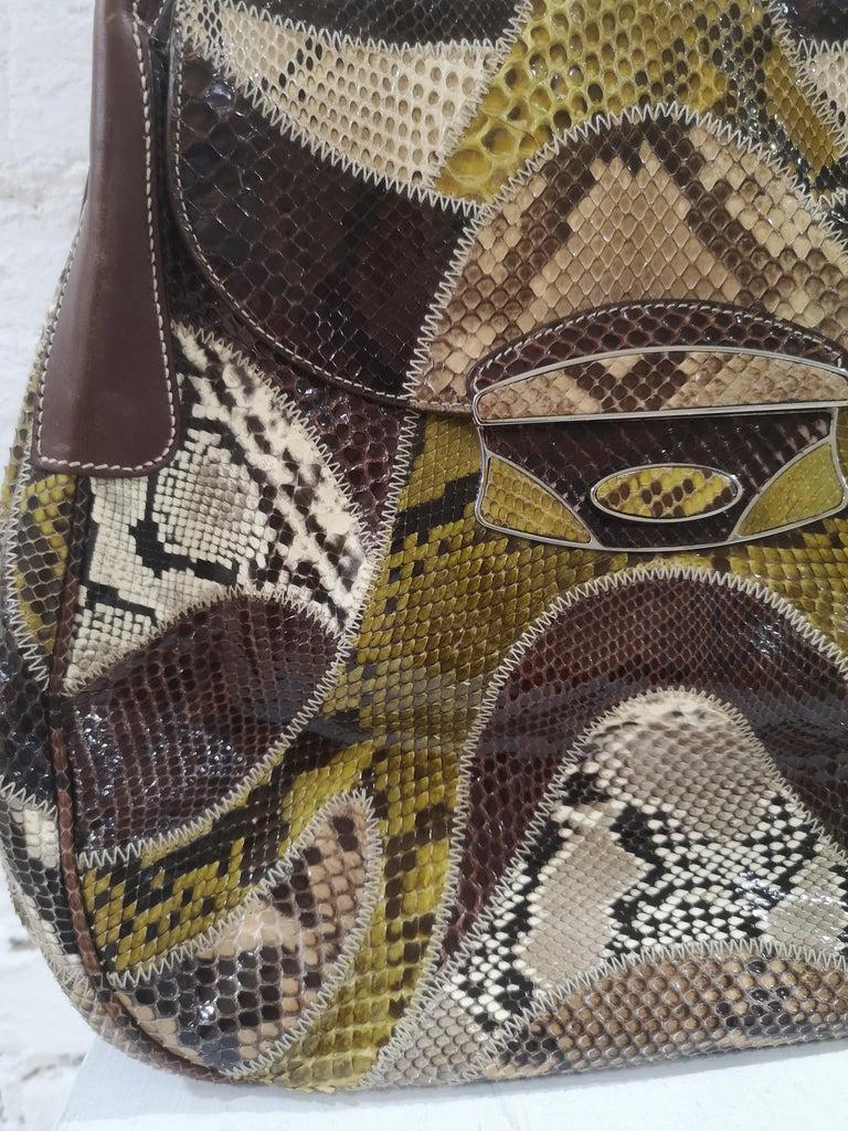 Brown Prada multicoloured python leather shoulder bag For Sale