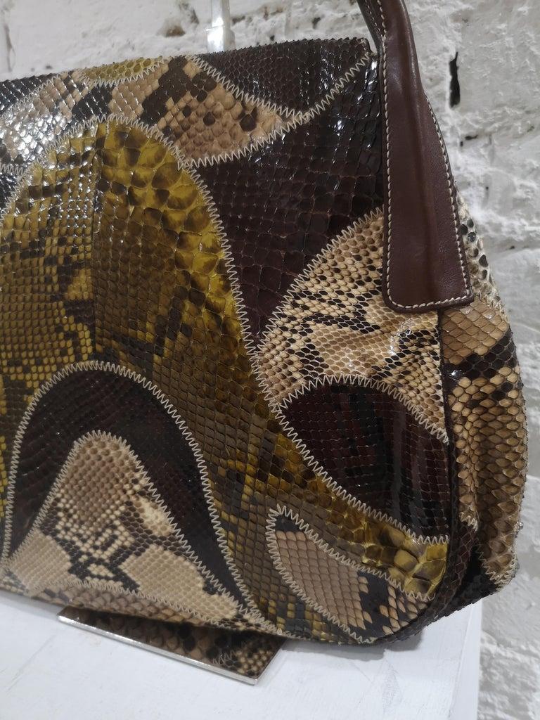 Prada multicoloured python leather shoulder bag For Sale 4