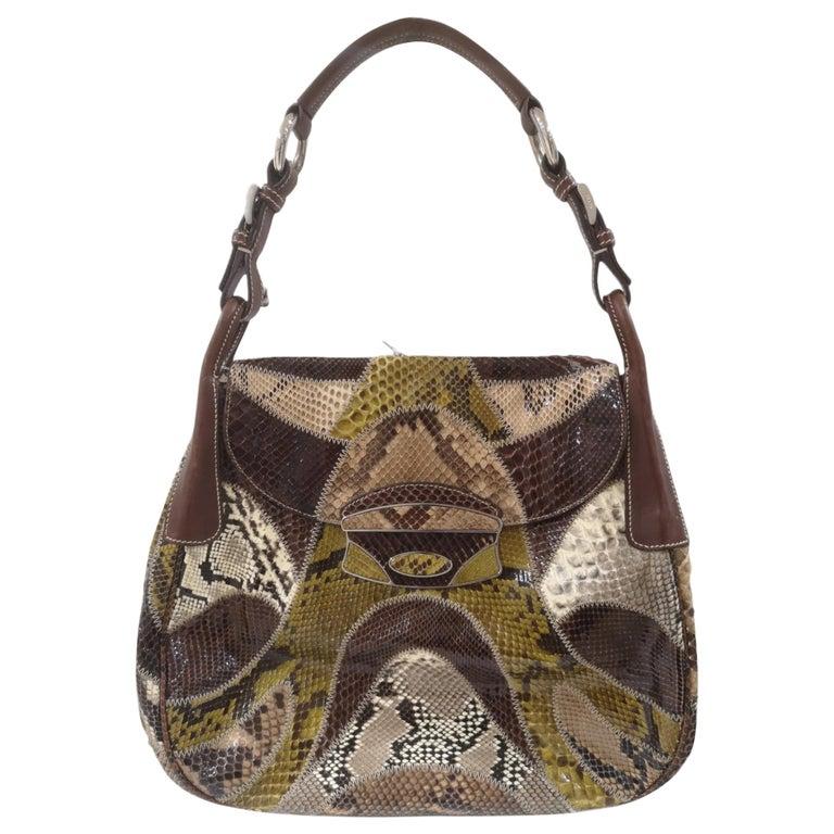 Prada multicoloured python leather shoulder bag For Sale