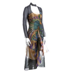 Prada multicoloured silk organza dress with fairy print by James Jean, ss 2008