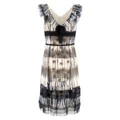 Prada Multicoloured Silk Sequin Frill Dress42 (IT)