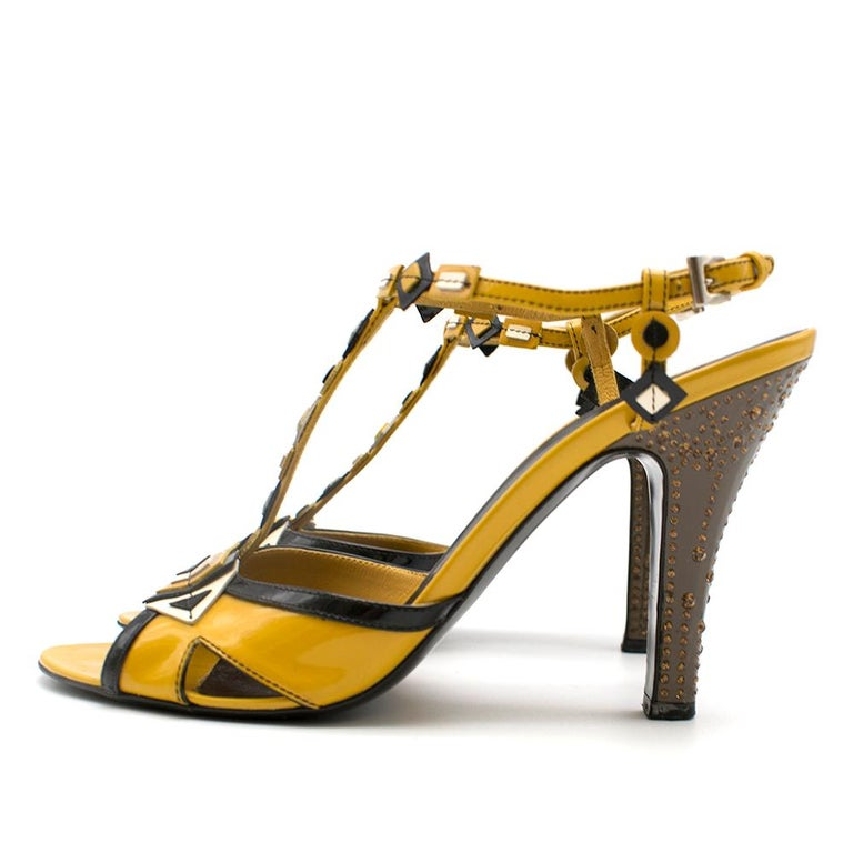 Prada mustard yellow patent embellished heel sandals 39.5 For Sale 1