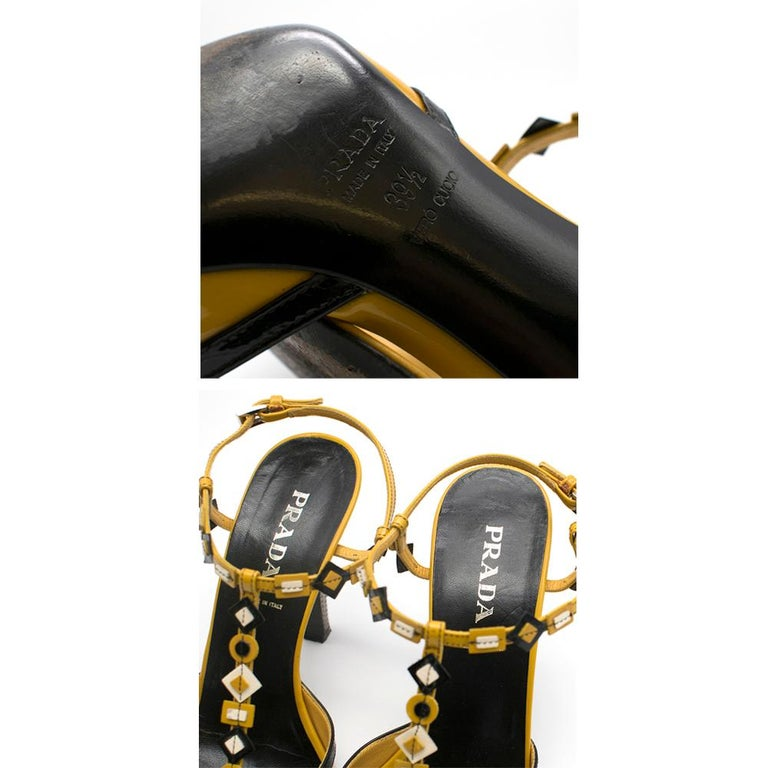 Prada mustard yellow patent embellished heel sandals 39.5 For Sale 3