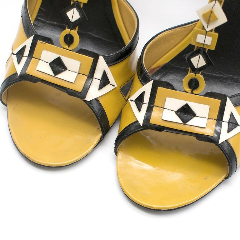 Prada mustard yellow patent embellished heel sandals 39.5 For Sale 5