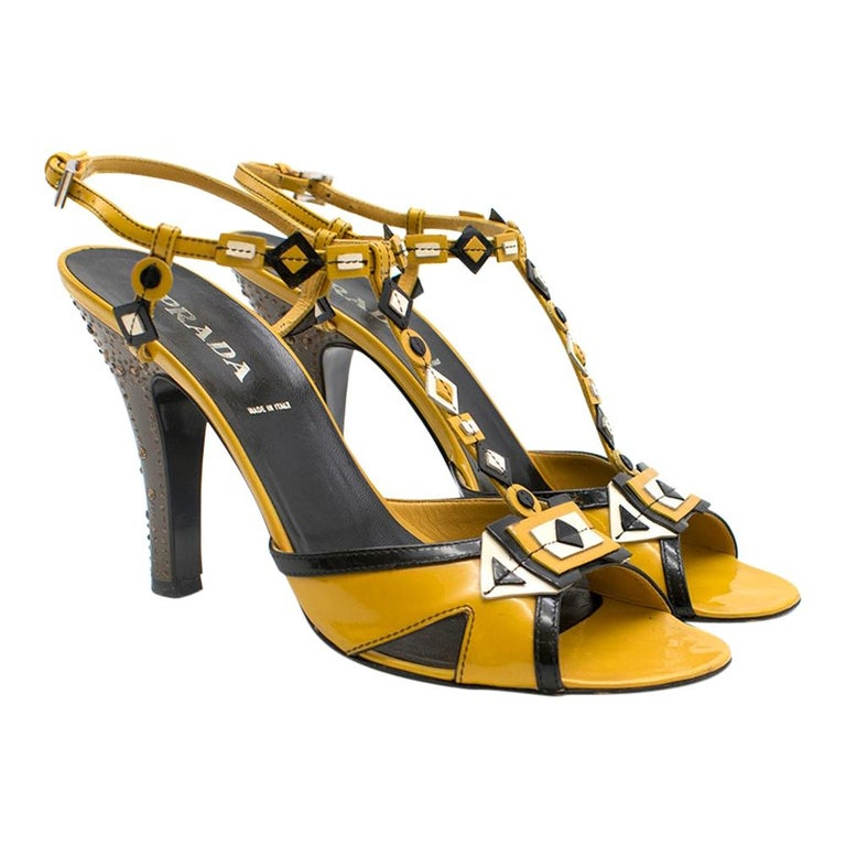 Prada mustard yellow patent embellished heel sandals 39.5 For Sale