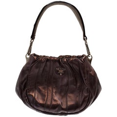 Prada Nappa Waves Metallic Wine Hobo Bag