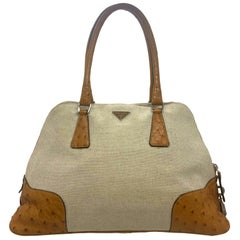 Prada Natural Canvas Cognac Ostrich Trimmed Bowling Top Handle Handbag, 2000.