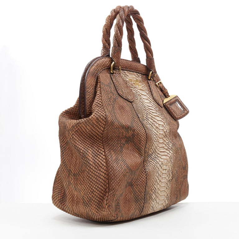 Brown PRADA natural scaled leather twisted rolled handle curved magnet close bag For Sale