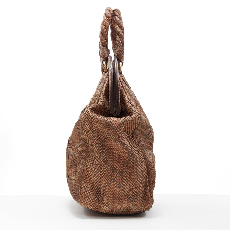 PRADA natural scaled leather twisted rolled handle curved magnet close bag In Excellent Condition For Sale In Hong Kong, NT
