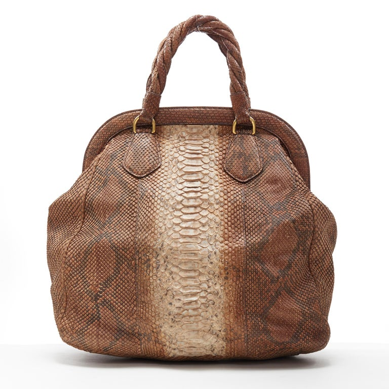 Women's PRADA natural scaled leather twisted rolled handle curved magnet close bag For Sale