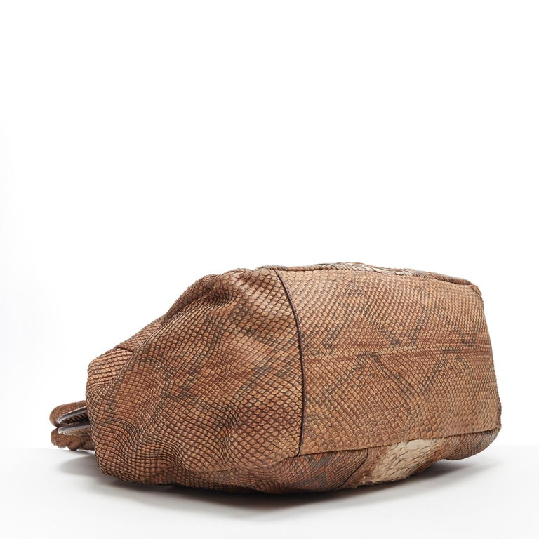 PRADA natural scaled leather twisted rolled handle curved magnet close bag For Sale 1