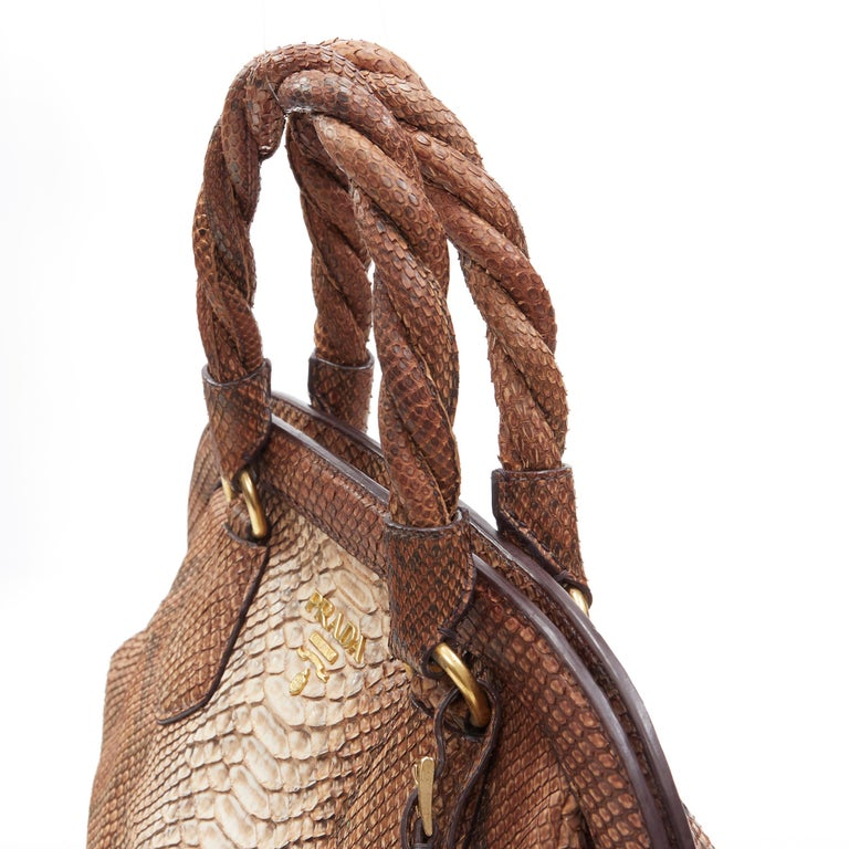 PRADA natural scaled leather twisted rolled handle curved magnet close bag For Sale 4