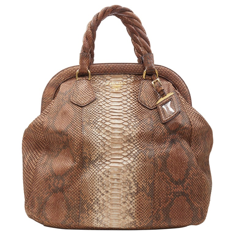 PRADA natural scaled leather twisted rolled handle curved magnet close bag For Sale