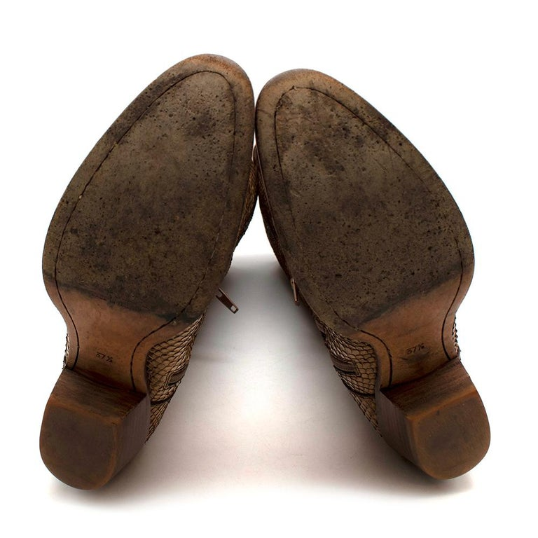 Prada Natural Snakeskin Western Inspired Boots - Size EU 37.5 For Sale 5