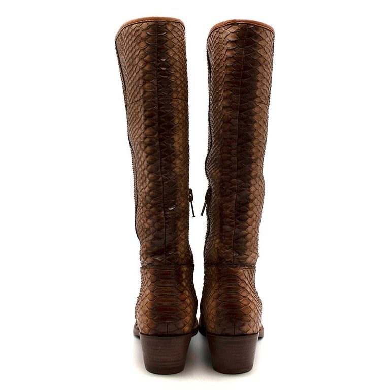 Brown Prada Natural Snakeskin Western Inspired Boots - Size EU 37.5 For Sale