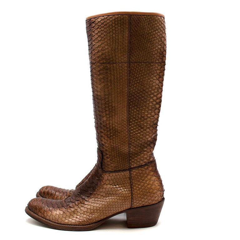 Prada Natural Snakeskin Western Inspired Boots - Size EU 37.5 For Sale 2