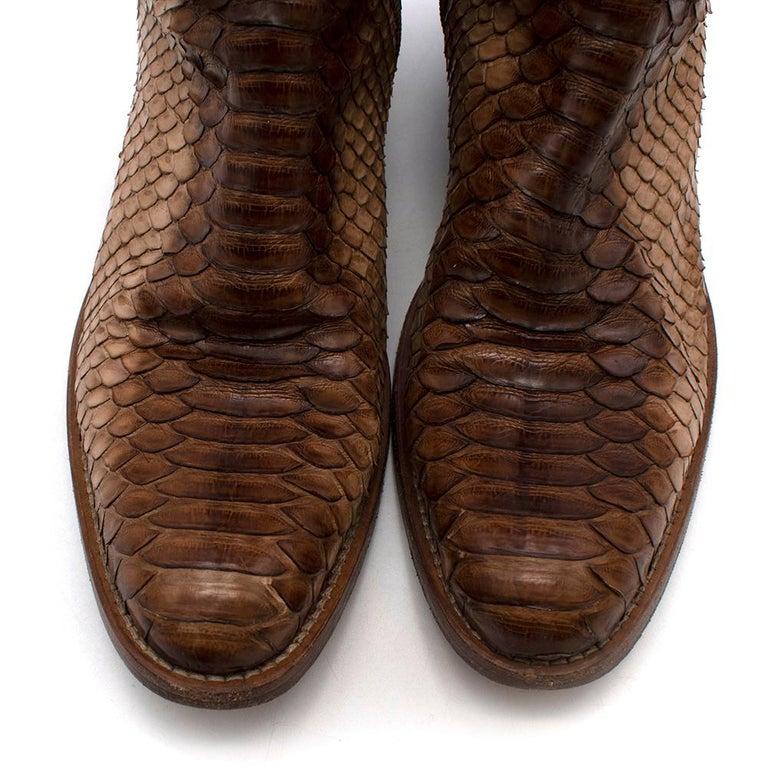 Prada Natural Snakeskin Western Inspired Boots - Size EU 37.5 For Sale 3