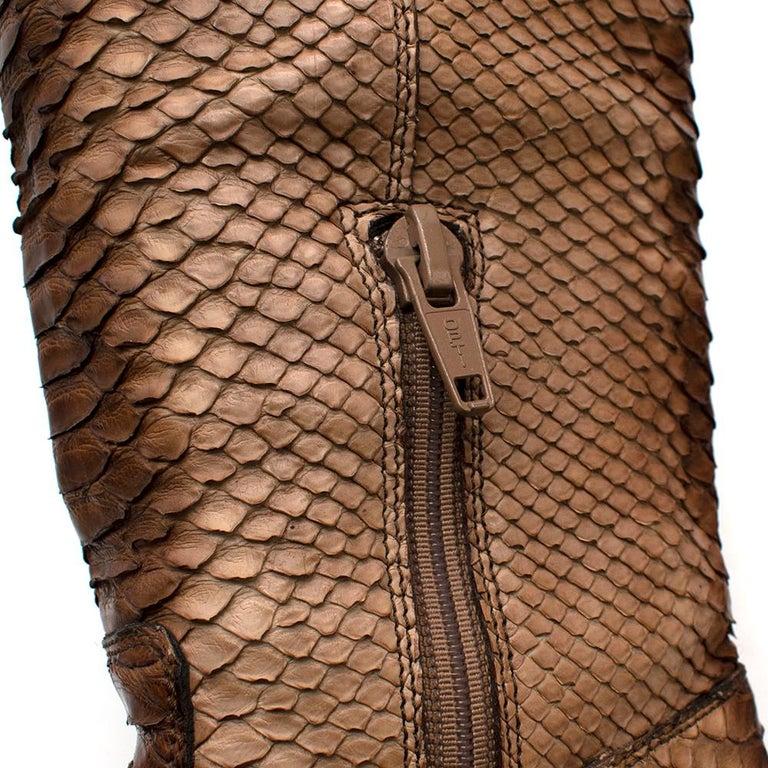 Prada Natural Snakeskin Western Inspired Boots - Size EU 37.5 For Sale 4
