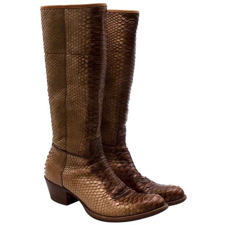 Prada Natural Snakeskin Western Inspired Boots - Size EU 37.5 For Sale