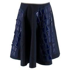 Prada Navy A-line Geometric Embellished Skirt S 42