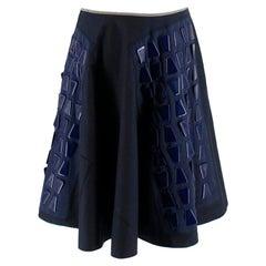 Prada Navy A-line Geometric Embellished Skirt - Size US 6