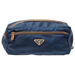 Prada Navy Blue/Brown Tessuto Nylon Wash Bag