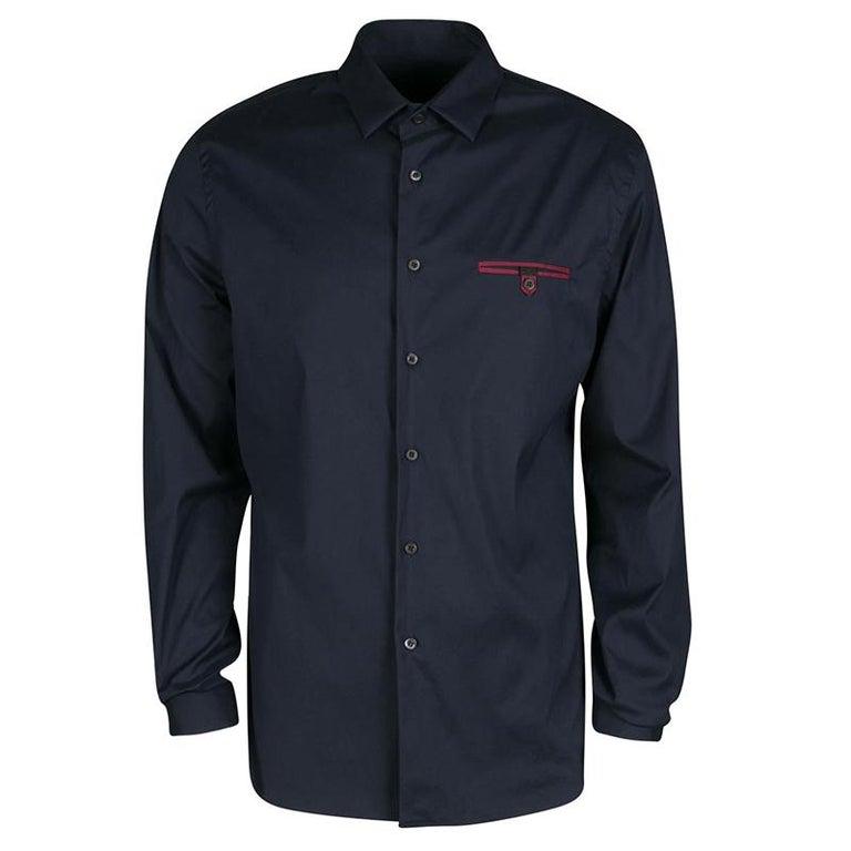2e385f452a Prada Navy Blue Cotton Button Front Long Sleeve Shirt XXL