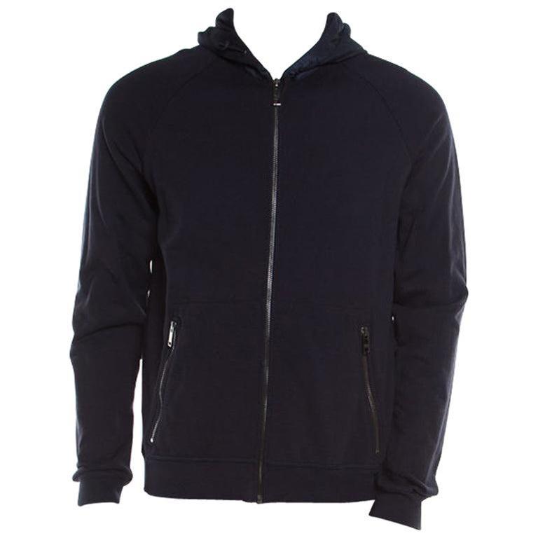 promo code 711cd 2ac05 Prada Navy Blue Cotton Jersey Zip Front Felpa Blouson Hoodie L