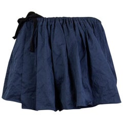 PRADA navy blue cotton pleated Wrap Skirt 46 XL